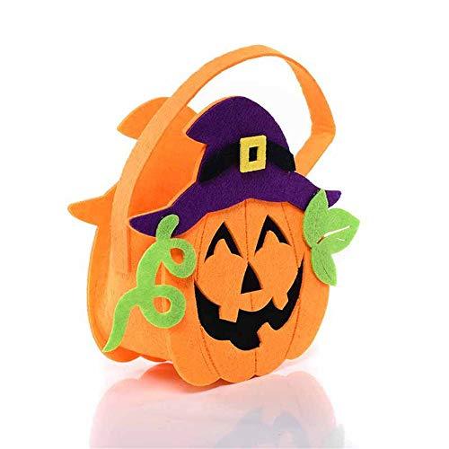 ATOLY Pumpkin Band Cane Hat Halloween Bag Basket Trick Or Treat Candy Basket for Kids for Halloween Party Bag, Orange