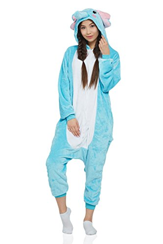 Adult Elephant Onesie Pajamas Animal Kigurumi Cosplay Costume One Piece Fleece Pjs (Small, Cyan Blue, White)