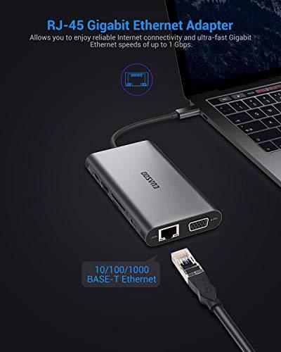 EUASOO 10 in 1 Thunderbolt 3 hub 1000M RJ45 Ethernet VGA USB 3.0 Port 4K HDMI