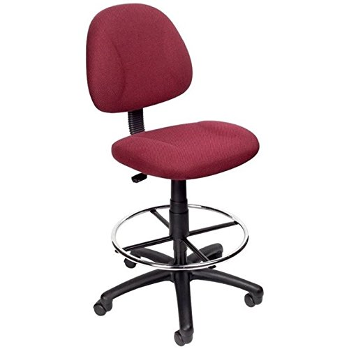 Pemberly Row Fabric Upholstered Office Drafting Stool in Burgundy by Pemberly Row