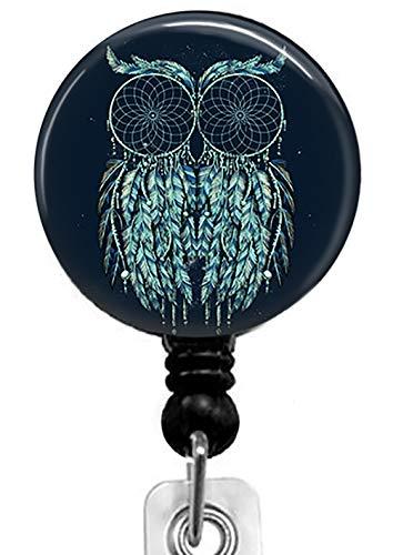 (Feather Owl Retractable Badge Reel with Alligator Clip,Name Nurse ID Card Badge Holder Reel, Decorative Custom Badge Holder)