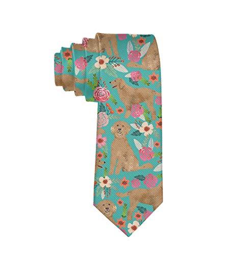 Slim Golden Doodle Floral Dog Necktie Ties for Men, Suit Uniform Paisley Necktie Gifts for Boys Teens Youth - Formal Extra Long Neckties Wedding Ties Necktie Party Tie ()