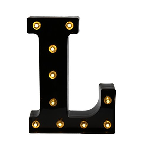 DELICORE Decorative LED Illuminated Letter Marquee Sign - Alphabet Marquee Letters with Lights for Wedding Birthday Party Christmas Night Light Lamp Home Bar Decoration L, (Christmas Lights Letter)