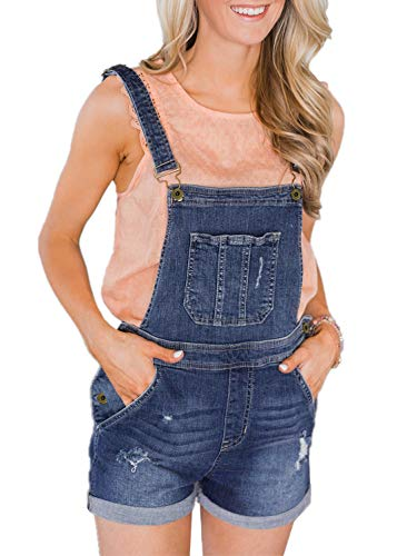 (Sidefeel Women Jumper Bid Shortalls Plus Size Distressed Denim Overall Shorts XX-Large Dark Blue)
