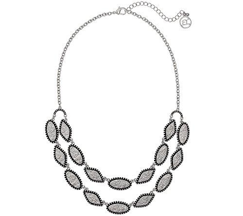 Erica Lyons Silvertone Short 2 Row Necklace