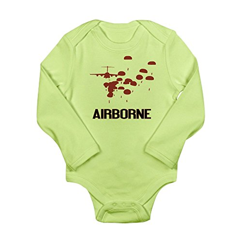 CafePress U.S. Army: Airborne Jump (Airborne Red) Body Suit - Cute Long Sleeve Infant Bodysuit Baby (1 Combat Jump Wings)