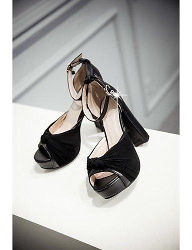 ShangYi Damenschuhe - Sandalen - Hochzeit / Büro / Kleid / Party & Festivität - maßgeschneiderte Werkstoffe - Blockabsatz - Absätze -Schwarz / Pink