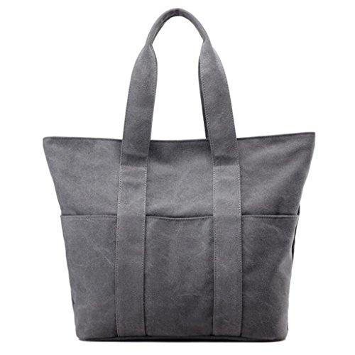 Sucastle sacchetti di svago sacchetto di modo del sacchetto di spalla di tela retro borsa bag Sucastle Colore:grigio Dimensione:40x38x13cm