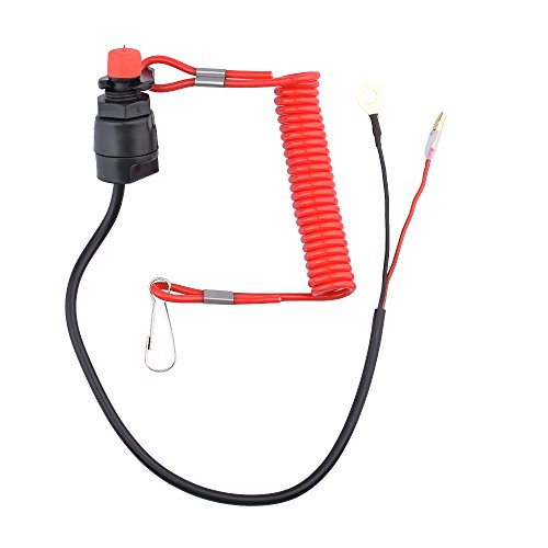 Minireen Boat Engine Motor Kill Stop Switch and Safety Tether Lanyard for Yamaha Tohatsu Honda Outboard ()