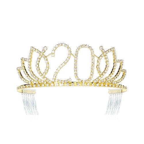 Gold Crystal Crown (DcZeRong Princess Sweet Girls 20 Birthday Tiara Crown Gold Rhinestone Crystal Diamond Crown Tiara)
