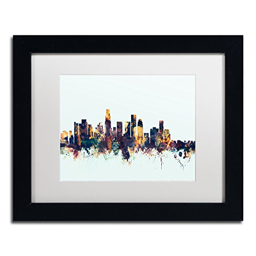 Los Angeles CA Skyline Blue by Michael Tompsett, White Matte, Black Frame 11x14-Inch (Big Angeles Los Green Egg)