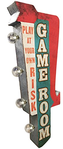 Game Room Sign, Illuminated By Battery Powered Large LED Lights, Double Sided Metal Tin Marquee Display, Wall Decor Designed To Have A Distressed (Room Tin)
