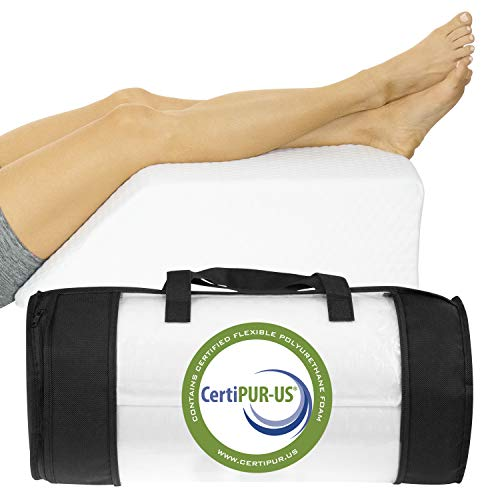 Xtra-Comfort Leg Elevation Pillow - Wedge Elevator Support Cushion for Sleeping, Swelling - Elevated Prop Up Position, Back Pain, Foot Rest, Sciatica - Knee Elevating Incline Memory Foam (Milliard Foam Leg Elevator Cushion With Washable Cover)