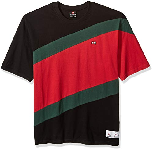 - Southpole Men's Colorblock Short Sleeve Fashion Tee, Black Diagonal Cut, X-Large