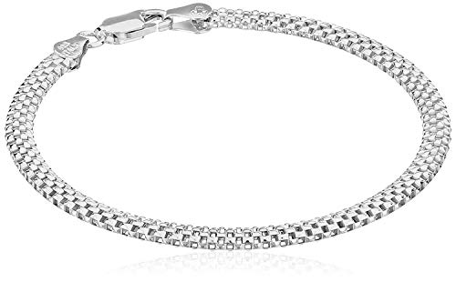 (Amazon Essentials Sterling Silver Mesh Chain Bracelet, 8