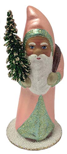 - Pinnacle Peak Trading Company Ino Schaller Salmon Colored Santa Tree German Paper Mache Candy Container