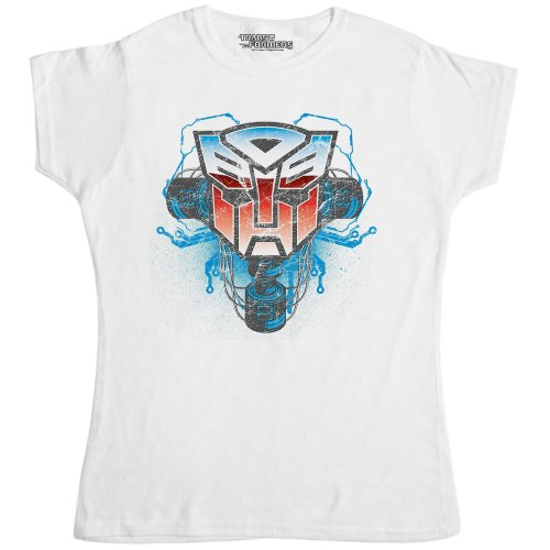 Womens Official Transformers T Shirt - Logo Autobot Shield Phones White - White - Small (8-10)