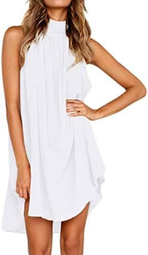 Womens Holiday Dress, Auwer Ladies Loose Dress, Casual Cotton Linen Sleeveless Dress (XL, White)
