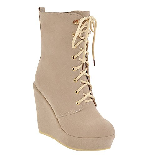 Charm Foot Womens Chic Lace Up Wedge Platform High Heel Short Boots Beige BFRt4L
