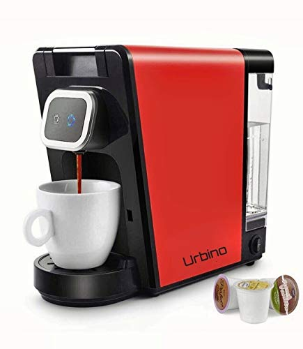 Urbino Coffee Maker, compatible with K-Cup pods, Small and Big Cup Buttons with Indicator Light,Large Visible Removable Reservoir, 2x free reusable pods (RED-BLACK)