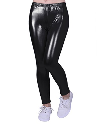 HDE Girls Shiny Wet Look Leggings Kids Liquid Metallic Footless Tights (4T-12) (Black, 7/8)