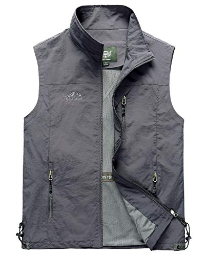 Hixiaohe Men's Lightweight Outdoor Work Fishing Photo Travel Hiking Vest Gilet (Gray, L)
