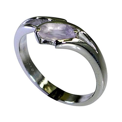 (Natural Rose Quartz Ring Marquise Cut Healing Handmade Bezel Style Astrological Size 5,6,7,8,9,10,11,12)