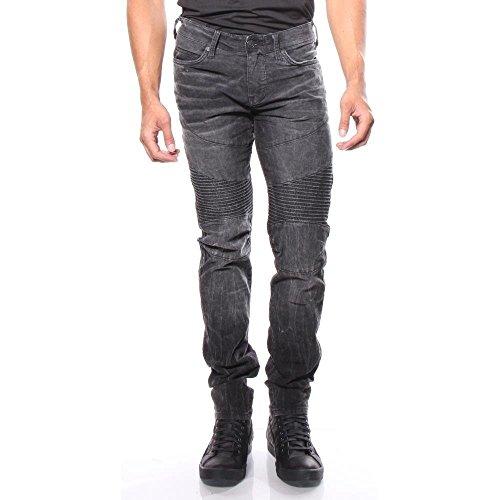 (True Religion Men's Rocco Moto SE Relaxed Skinny Jeans (38W x 34L, Onyx))