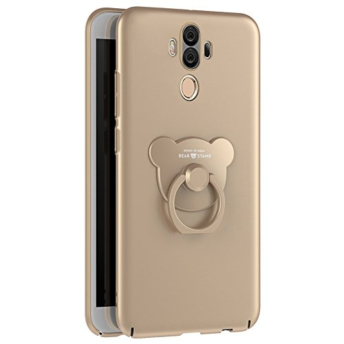 Huawei Mate 10 Pro Case Silicone,Huawei Mate 10 Pro Case Hard Plastic,Huawei Mate 10 Pro Shockproof Case Cover,EUWLY Huawei Mate 10 Pro Phone Case with 360 Degree Bear Rotating Ring Holder Support,Ult Gold