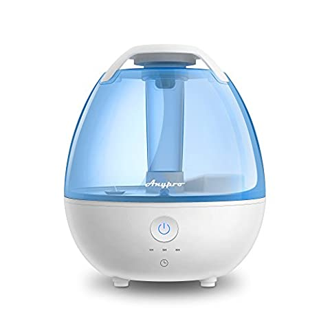 Cool Mist Humidifier - Ultrasonic Humidifier Super-Quiet Mist Humidifiers with Silver ion Antibacterial Agent, 3 Time Settings, High/Low Mist Control and Night Light Ideal Humidifiers for Baby (Agent Cool Blue)