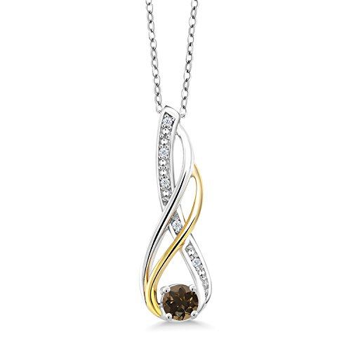 Gem Stone King 2 Tone 10K Yellow Gold And 925 Sterling Silver Diamond Infinity Pendant 0.30 Ct Round Brown Smoky - Brown Diamond Necklace