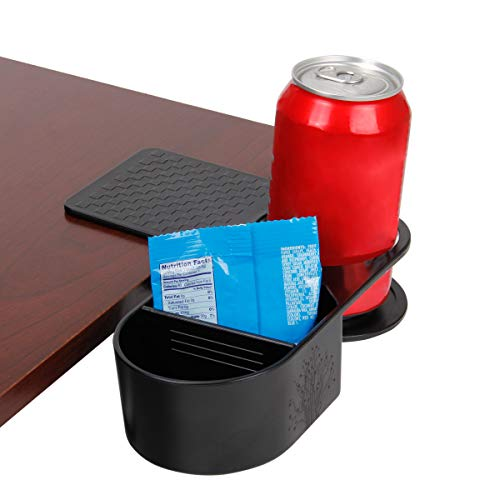 ENHANCE Cup Holder Clip On Desktop Clamp with Organizer Tray - Drink & Accessory Storage with Reinforced Clamp & Removable Divider Ideal for Desks & Tables - Holds Phones, Office Supplies & Snacks