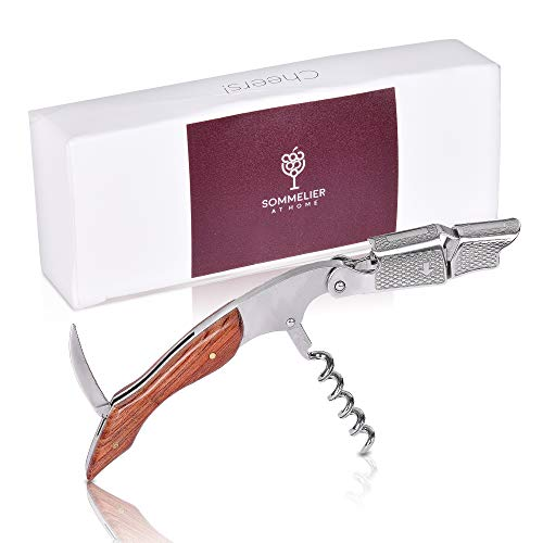Wine Opener - Waiters Corkscrew - with Foil Cutter - Double Hinged - Stainless Steel with Rosewood Handle by Sommelier at Home - All in One Corkscrew - Bottle Opener ()