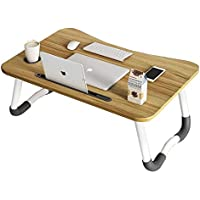 Laptop Bed Tray Table Foldable Pc Desk with Foldable Legs &Cup Holder &Card Slot for Sofa Couch Coffee Breakfast with…
