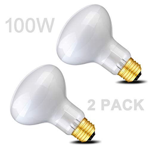 - Wuhostam 100W Basking Spot Lamp UVA Glass Heat Bulb Soft White Light for Reptile Tortoise Lizard, 2 Pack