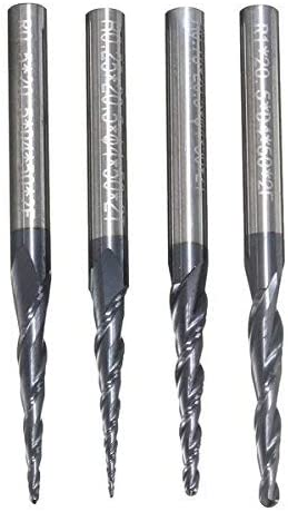 4pcs.R0.25 / R0.5 / R0.75 / R1.0mm 2-Flute Hard Metal Cone milling Cutter with Ball Cone