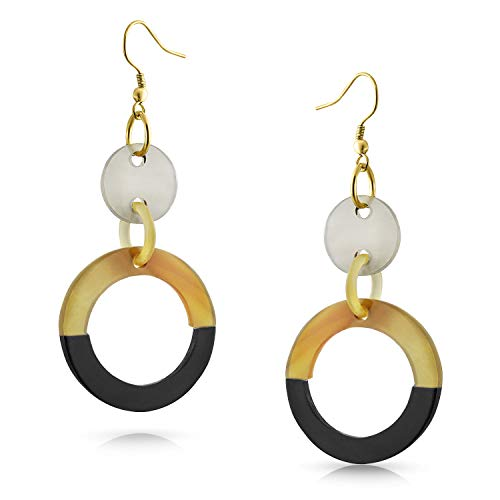 Buffalo Horn Gold Plated Iron Circle Link Dangle Earrings ()