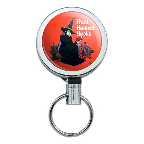 Holder Monkey Card (Read Banned Books Witch and Monkey Heavy Duty Metal Retractable Reel ID Badge Key Card Tag Holder with Belt Clip)