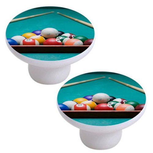 Set of 2 Billiards Pool Ball Rack Ceramic Cabinet Drawer (Ceramic Ball Cabinet Knob)