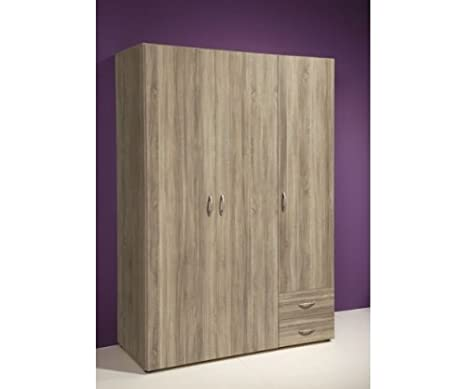 Stella Trading Base 3 Türiger Kleiderschrank Holz Sonoma 52 X 120 X 177 Cm