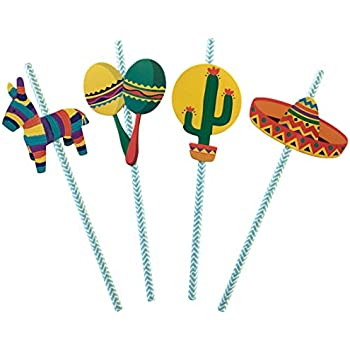 Amazon.com: Fun Express Fiesta Party Pajitas de papel – 24 ...