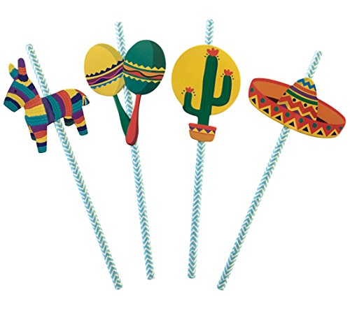 Fiesta Party Straws | Mexican Decorations | Set of 32, PRE-ASSEMBLED Paper -