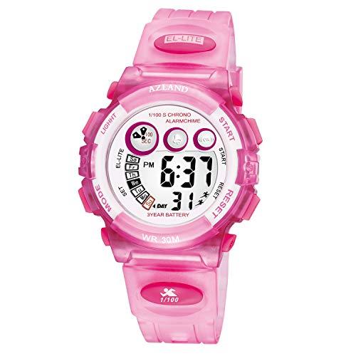 - AZLAND Boys Girls Watches,Sports Watch,Digital Watch Features Night-Light,Swim,Frozen,Waterproof Kids Watch (Pink)