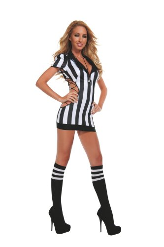Sexy Sports Costumes - Starline Women's Sexy Cut-Out Referee Costume Set with Whistle, Black/White,
