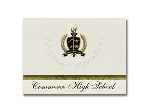 Signature Announcements Commerce High School (Commerce, GA) Graduation Announcements, Presidential style, Basic package of 25 with Gold & Black Metallic Foil - Ga Commerce