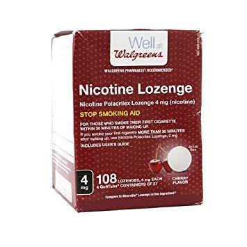 - Walgreens Nicotine Lozenge, Cherry Flavor, 4mg, 108 count