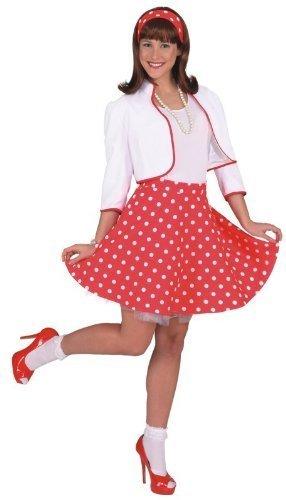 Rock 'n Roll Rock m. Petticoat rot,weiß gepunktet, Größe:46-48 ...