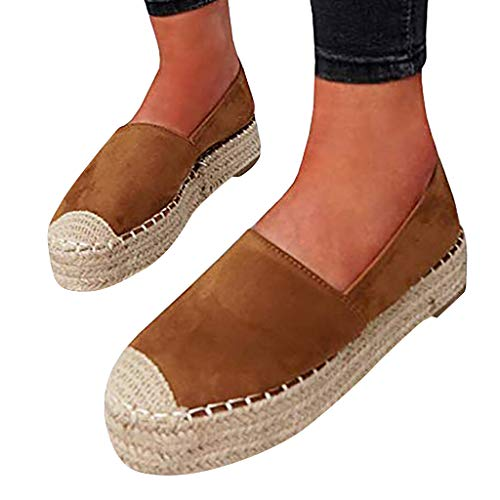 (Cewtolkar Women's Shoes Summer Grass Weaving Platform Shoes Slip On Round Toe Casual Flats Party Boat Shoes Brown)