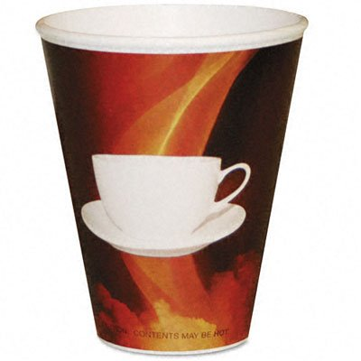 Pactiv HCL-16STE-160PP Labeled Hot Paper Cups, 16 oz, Coffee Mug Design, Brown/White (Pack of 160)