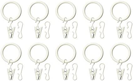 IKEA SYRLIG Curtain Ring With Clip And Hook White 10 Pack Free Shipping